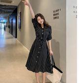 VK旗艦店 韓系修身條紋襯衫雪紡長袖洋裝