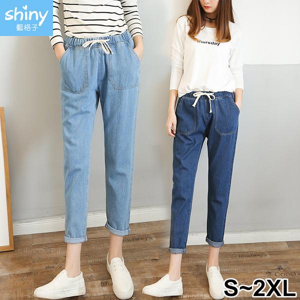 【V2912】shiny藍格子-日常悠閒‧抽繩鬆緊腰大口袋九分牛仔褲
