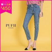 (現貨)PUFII-牛仔褲 超彈力雙釦高腰丹寧牛仔長褲 0412 現+預 春【CP14366】