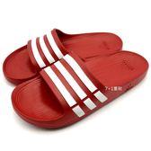 《7+1童鞋》男款  ADIDAS  DURAMO  SLIDE  超輕量  防水  運動拖鞋  7001  紅色