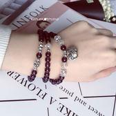 烏拉圭紫晶手鏈百搭多層手鏈鈴鐺小象紫水晶串珠閨蜜禮物 巴黎春天