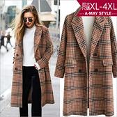 加大碼外套-歐美妞必備格紋秋冬個性大衣(XL-4XL)