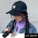 OT SHOP帽子 韓版小雛菊刺繡 春夏棉質棒球帽 老帽 顯小臉遮陽穿搭配件 黑色 米色 現貨 C2143