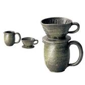 日本陶瓷【伊賀燒】陶瓷咖啡濾杯組 二件組 杉森与平作 与平窯 手作碗皿 陶器 茶杯 咖啡杯組