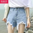 高腰牛仔短褲女夏季免運新款顯瘦百搭彈力外...