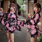 角色扮演 飄落魅情櫻花の貓和服(黑)-玩伴網【全館86折】