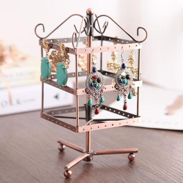 鐵藝三層旋轉飾品架首飾架 擺耳環耳釘耳墜收納展示架子 創意