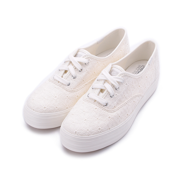KEDS TRIPLE 緹花厚底綁帶帆布鞋 白 9192W132709 女鞋 休閒│小白鞋