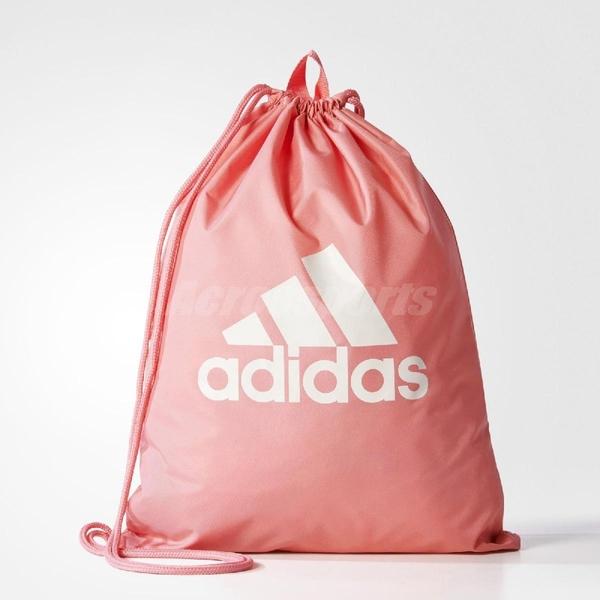 adidas 束口袋 PERFORMANCE LOGO GYM BAG 後背包 束口 健身背包 雙肩 女款 粉 白 【PUMP306】 BR5200