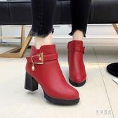 高跟短靴秋冬季新款歐美百搭高跟粗跟齊踝短靴加絨女靴子 DN21823『男神港灣』