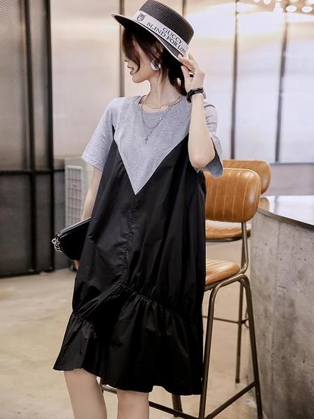 寬鬆拼接洋裝寬鬆顯瘦遮肚子夏裝歐洲站歐貨時尚女潮-Milano米蘭