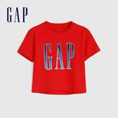 Gap 女幼童 Logo純棉圓領印花短袖T恤 577390-正紅色
