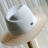 草帽-遮陽英倫時尚拼接羊毛呢女帽子73ti50[時尚巴黎]