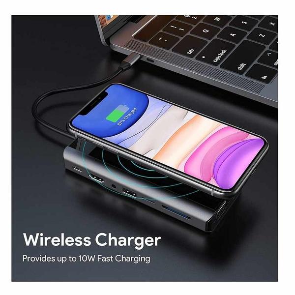 15合1 USB C 集線器 HDMI,VGA,無線充電,千兆以太網,3 USB 3.0,SD / TF卡(Thunderbolt 3) [2美國直購]
