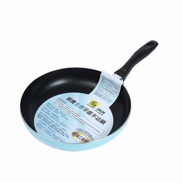 鍋寶不沾平煎鍋28cm銀藍