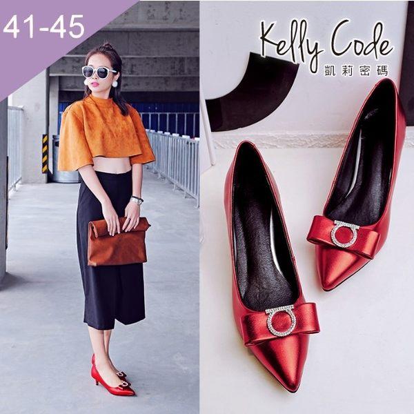 大尺碼女鞋-凱莉密碼-時尚金屬色名媛風水鑽尖頭低跟鞋5cm(41-45)【QI331-5】紅色