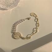 手鏈女雙層珍珠氣質簡約百搭粗鏈條手飾【聚寶屋】