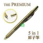 日本 THE PREMIUM 水平儀 5合1多功能 原子筆 觸控筆 4526858048224 金色 /支