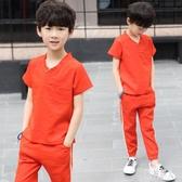 男童童裝2020新款韓版夏季套裝兒童休閒兩件套洋氣夏裝帥氣8歲潮 yu12627『紅袖伊人』
