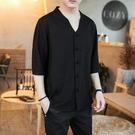 夏季中國風亞麻短袖T恤男寬鬆胖子加肥加大碼男裝棉麻上衣七分袖 快速出貨