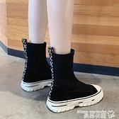 襪靴 鬆糕厚底襪子靴女ins潮2021年秋季新款馬丁短靴不過膝高筒瘦瘦靴 曼慕