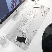 北歐ins辦公桌墊 大理石紋滑鼠墊超大號護腕加厚筆記本電腦鍵盤墊   初見居家