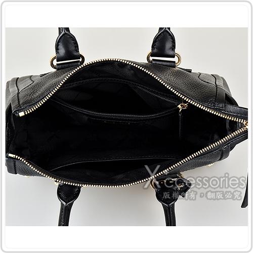 MICHAEL KORS CARINE金字LOGO鉚釘設計牛皮拉鍊手提斜背包(小/多色)