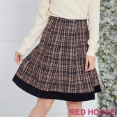 【RED HOUSE 蕾赫斯】格紋毛呢剪接裙(共2色)