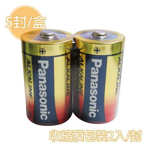 [奇奇文具] 【國際牌 PANAOSNIC 鹼性電池】 1號  鹼性電池 收縮膜/2入/封 (5封/盒)