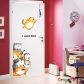 壁貼【橘果設計】可愛卡通貓咪 DIY組合壁貼 牆貼 壁紙 室內設計 裝潢 無痕壁貼 佈置