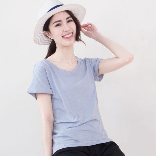 竹節棉純色V領T恤  [灰藍 灰粉 深灰 黑 白] 五色售  US160051
