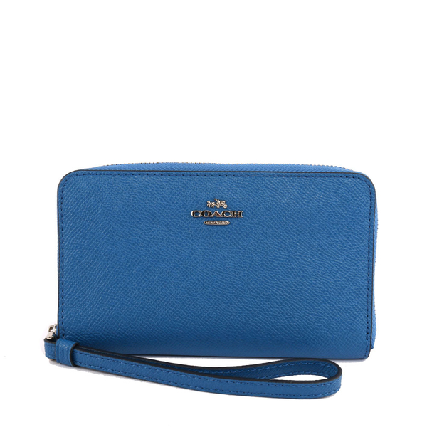 【COACH】馬車LOGO防刮皮革中夾/手拿包(希臘藍)F59724 SVM88