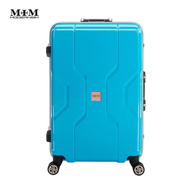 MOM JAPAN日本品牌 新款 輕量化鋁框亮面 PP材質 行李箱/旅行箱 -28吋-藍 M3002