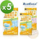 【藍鷹牌】藍色 台灣製 2-6歲幼兒平面三層式不織布防塵口罩 5入/包x5包