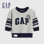 Gap嬰兒 Logo創意風格圓領休閒上衣 618779-淺灰色