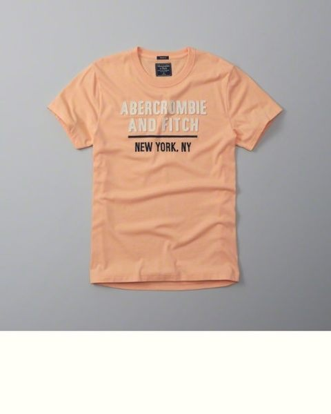 AF A&F Abercrombie&Fitch 男 圖案 T 恤 淡粉【美國麋鹿】