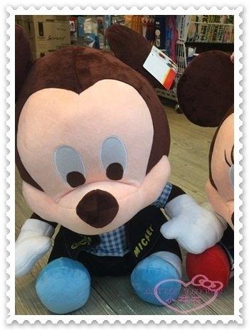 ♥小花花日本精品♥ 迪士尼 米奇 18吋 娃娃玩偶 坐姿 藍色格紋衣服 聖誕節禮物 生日禮物 12337804