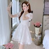 裙子 洋裝 禮服夏季法式甜美氣質小清新仙女裙泡泡袖白色v領蕾絲連衣裙9365 T356-H.皇朝天下
