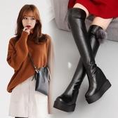 特賣高筒高跟鞋過膝女長靴厚底內增高狐貍毛女鞋秋冬鬆糕坡高跟靴子女高筒彈力靴