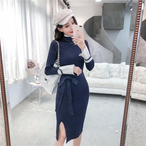 絕版出清 韓國風氣質高領亮絲開叉百搭針織長袖洋裝