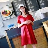 連衣裙 2019夏韓版莫代爾加肥加大碼連衣裙女孕婦裙寬鬆中長款套頭大擺裙