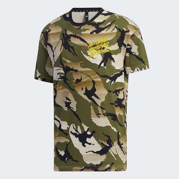 Adidas M DESERT CAMO AOP 男裝 短袖 T恤 迷彩 筆刷LOGO 綠【運動世界】GP0883