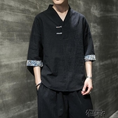 夏季潮流中國風男裝寬鬆大碼漢服上衣服T恤 【全館免運】