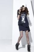 【 BETTY BOOP 】貝蒂夏日↘特價~ 細鑽綴圖英文腰間綁帶中空洋裝 NO.BS15503