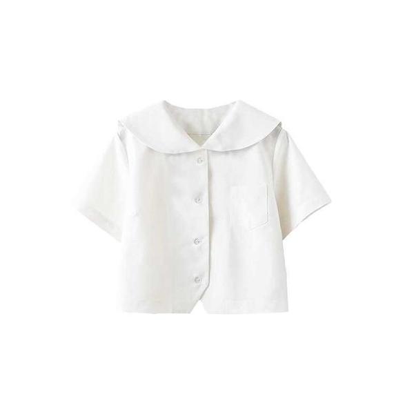 JK制服女白無本上衣關西札幌襟白色襯衫基礎款水手服短袖關東