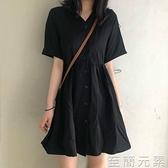 洋裝 裙子女夏季新款法式黑色洋裝收腰顯瘦中長款V領A字裙小黑裙