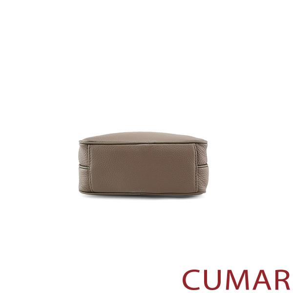 CUMAR  雙層拉鍊真皮斜/肩背相機包-卡其灰