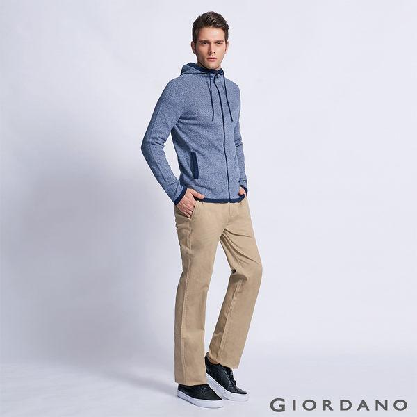 【GIORDANO】男裝中腰基本款彈性直筒休閒褲-12新薩哈拉