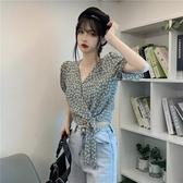 泡泡袖雪紡碎花上衣女2020夏季新款短袖設計感高腰露臍短款襯衫v 陽光好物