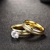 鈦鋼戒指 鑲鑽-時尚雙環套戒精美生日情人節禮物男飾品73le43【時尚巴黎】